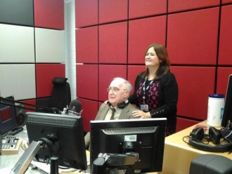 W.R. Mitchell and Elly Fiorentini at BBC Radio York in 2012